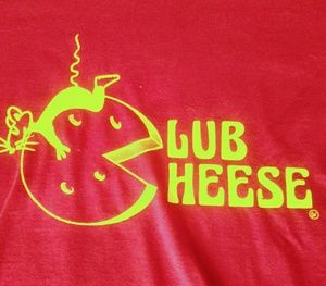 """🌞3/$18🌞sz L """"Club Cheese"""" red and yellow t-shirt"""